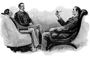 Sherlock Holmes, Percy Phelps, and Dr. Watson conversing in arm chairs