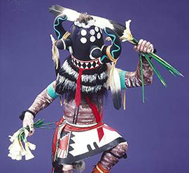 Native American Hopi Kachina Doll wearing traditional mask and clothing