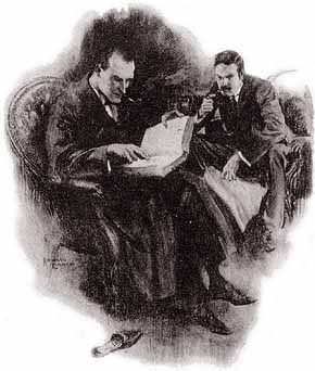 Sherlock Holmes reads a book to Dr. Watson
