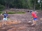 Furman students constructing a rain garden by Wade Worthen
